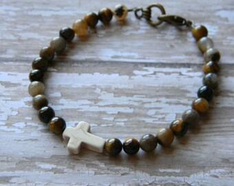 Mens bracelet beaded bracelet for men man bracelet tigers eye stone bracelet cross christian husband boyfriend guys jewelry