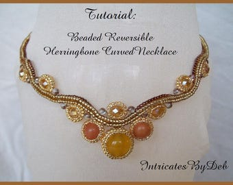 Tutorial Beaded Reversible Herringbone Necklace - Beading Pattern, Beadweaving Instructions, PDF, DIY