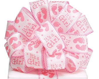 """Ribbon by the yard, 1.5"""" It's A Girl Ribbon, Foot Prints, Use for a Baby Gift, Shower, Any Season, Wreath making, Arrangement, Scrap-booking"""
