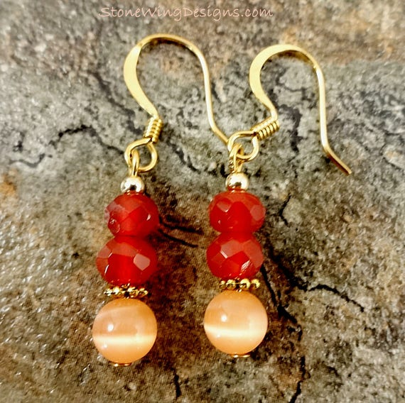 Carnelian and Peach Fiber Optic Glass Earrings