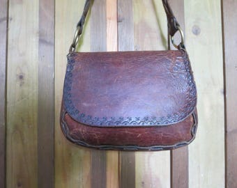 Vintage Tooled Leather Hippie Purse Italy Distressed Boho Woven Leather Bag