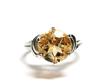 "Citrine, citrine ring, birthstone ring,  banded yellow ring, solitaire ring, s 6 3/4  ""Yellow Belly"""