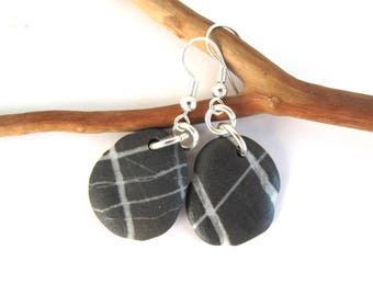 Beach Stone Dangle Earrings Mediterranean River Stone Earrings Pebble Jewelry Casual Rock Jewelry Gift for her Silver STRIPED DROPS
