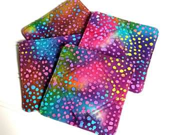 Colorful Fabric Coasters, Quilted Coaster Set, Batik Fabric