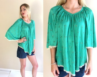 vintage 70s JUNGLE GREEN gold floral TUNIC os angel sleeve retro dolly hippie boho shirt top festival hipster