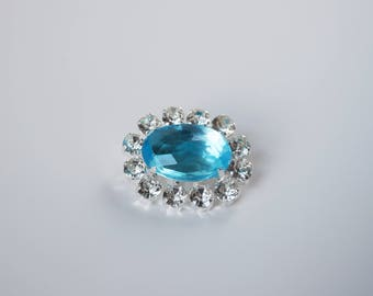 Aquamarine Crystal Brooch, Georgian Paste Brooch, 18th Century Pin, Regency Jewelry, 19th Century, Paste Glass, Light Blue Brooch Aqua Blue