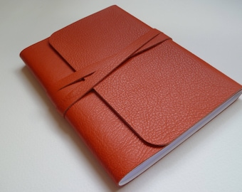 Leather Journal Leather Notebook Travel Journal Leather Book. Bright Orange Grained Leather .