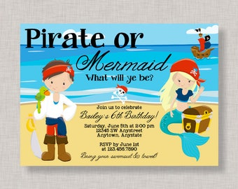 Pirates and Mermaids Birthday Invitation