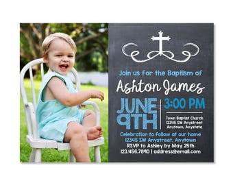 Chalkboard Baptism Invitation with photo