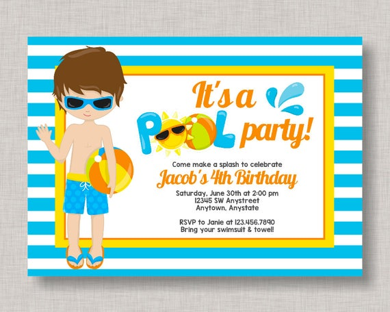 Pool Party Invitation Birthday Beach Summer Splash Pad Water Slide Boy Swim