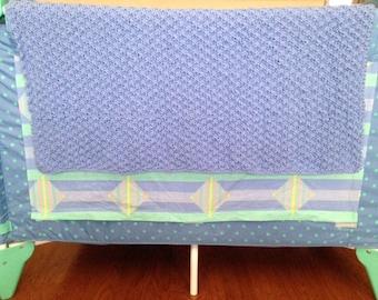 Hand Knit Blue Bluebelle Newborn Baby Toddler Blanket Baby Shower Grandchild Lap