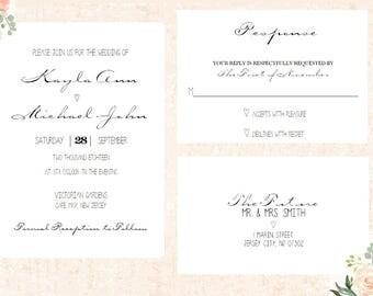 Simple Wedding Invitation - Printable - Elegant Wedding Invitation