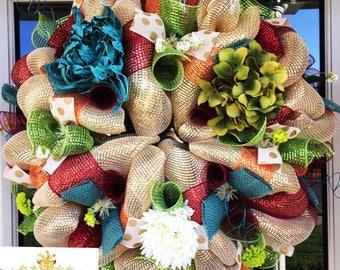 Hydrangea Wreath, wreath, wreaths, deco mesh wreath, deco mesh wreaths, front door wreaths, floral wreath, fall wreath
