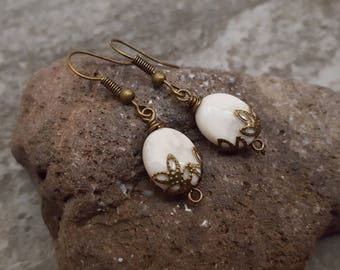 White Howlite Bronze Earrings, Natural Howlite Oval Gemstone Earrings, White Earrings, Gift for her, jingsbeadingworld inspired by nature