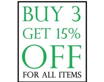 Buy Any 3 Items And Get 15% Off, Coupon Code SALE15, Discount Coupon, 925 sterling silver, Jewelry, Judaica, Gift, All Items Included