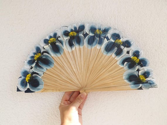 Dark Blue Large Flowers Flamenco Dancer Design Spanish Hand Fan Limited Edition