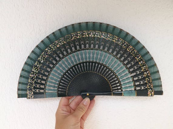 Small Wooden Fret Ribs Green Traditional Design Spanish Hand Fan Limited Edition