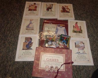 lot vintage american girl doll books pins games theatre kit paperwork
