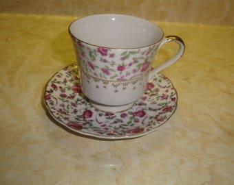 vintage teacup saucer set bone china pink roses