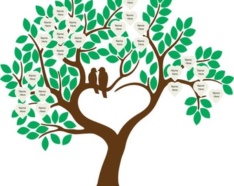 Family Tree with Hearts Digital File