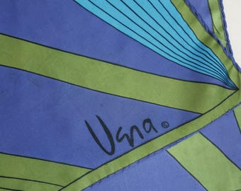 Vintage Vera Silk Scarf 80s Modern Print Teal Purple Greens 26 by 27 Inches 820b