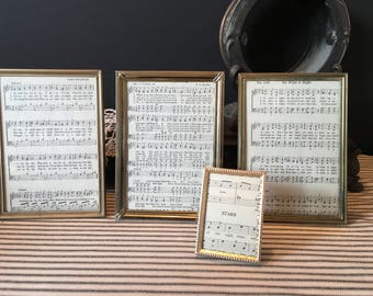 Set of Vintage Gold Metal Frames with Glass.