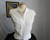 50s XL Embroidered Cotton Sleeveless BLOUSE Top White