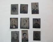 8 antique miniature tintype photos - 1800s, for repurposing, set#2
