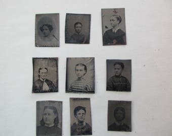 8 antique miniature tintype photos - 1800s, for repurposing, set#2