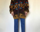 RESERVED Southwest Hooded Wool Sweater Jacket
