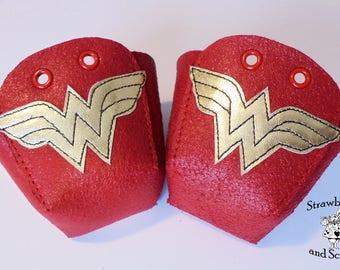 Wonder Woman Leather Roller Derby skate toe guards