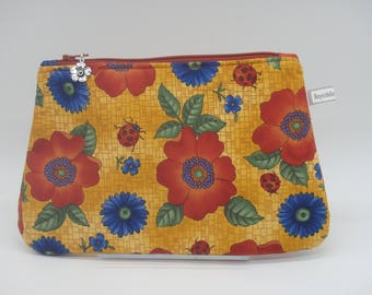 Poppies Makeup Bag, Floral Travel Bag, Cosmetics Clutch, Flowered Zip Pouch, Wet Sack, Ditty Bag, Makeup Pouch, Teacher Gifts for Her