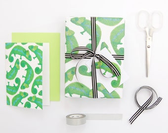 Chameleon Eco Wrapping Paper - blank inside - beautifully illustrated gifts - eco friendly stationery - greetings cards - made in the UK
