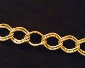 """Vintage Sterling Silver 8"""" Big Double Link Chain Bracelet"""
