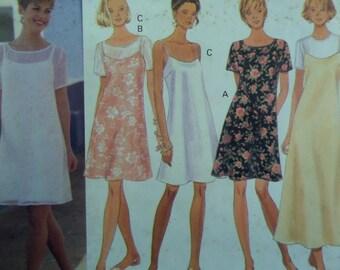 SLIP DRESS Pattern • Butterick 3493 • Miss 14-18 • A-Line Dress • Pullover Dress • Sleeveless Over Dress • Modern Patterns • WhiletheCatNaps