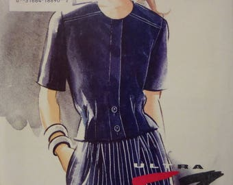 TUCKED JACKET Pattern • Vogue 8964 • Miss 12-16 • Wide Leg Shorts • High Waist Shorts • Sewing Patterns • Modern Patterns • WhiletheCatNaps