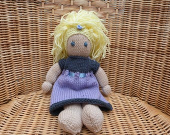 "12 "" Hand Knitted doll. Blonde hair doll. Fair hair doll. Blue eye doll. Soft Merino 100% Wool Doll. lambs wool filling.  Knitted Dress"