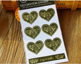 Gold Foil Stickers - Embossed Stickers - Gold Favor Stickers - Gold Heart Stickers - Gold Flower Stickers