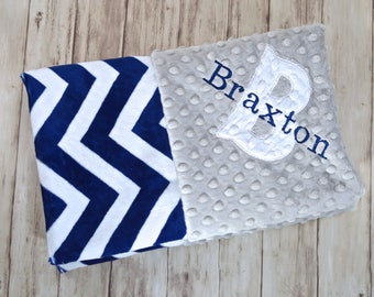 Minky Monogrammed Baby Blanket -  Chevron Blanket, Gray and Navy Blue Personalized -  Soft Blanket with name Newborn