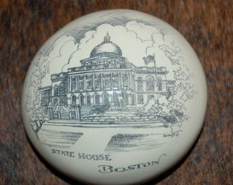 Scrimshaw State House of Boston Faux Ivory Ivorite Resin Paperweight Fake Ivory Not Real Reproduction Resin Scrimshaw