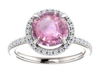 2.33ct unheated natural round peach pink sapphire engagement ring SKU RIANA 2296