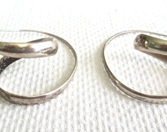 Stylized Swirled Earrings Sterling Silver Marked 925 Prob Mexico