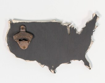 Classic USA Chalkboard Bottle Opener, Wooden, Distressed