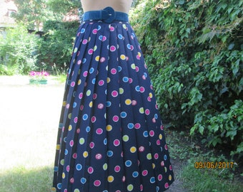 Pleated Skirt / Skirt Vintage / Pleated Skirts / Long Pleated Skirt / Accordion Skirt / Size UK14 / EUR42 / Navy / Magenta / Yellow / Green