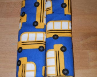 School Buses Infant/Toddler Reversible Car Seat Strap Covers (choice of minky)