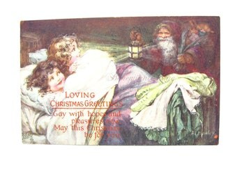 Christmas Postcard. Victorian Children Watching Santa Claus. Old World Christmas Eve. Home Decor. Antique 1910's Tuck Oilette Artist Signed.