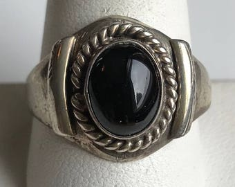 Vintage Sterling Silver Onyx Man's Ring-Size 11 1/8