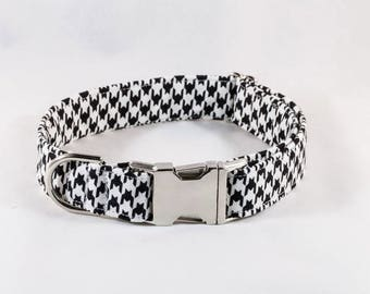 Classic Black and White Houndstooth Dog Collar