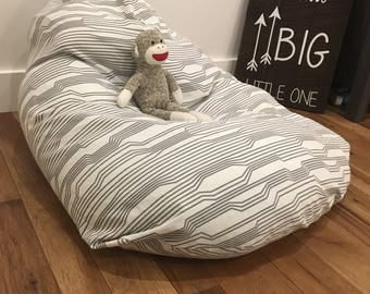 Kids White and Gray Bean Bag Chair Cover