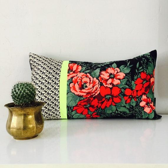 "Boho Pink Tribal Pillow Cover 14""x24"" Lumbar Cushion Pillow Ethnic Bohemian Hot Pink Striped Aztec Motif Metallic Gold"